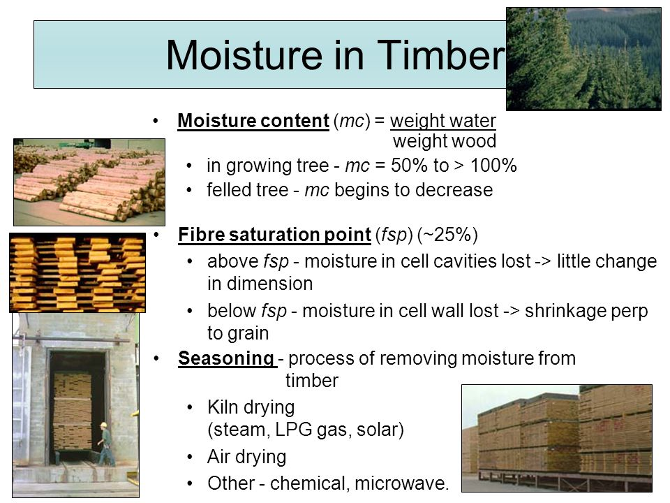 Moisture in Timber Moisture content (mc) = weight water weight wood