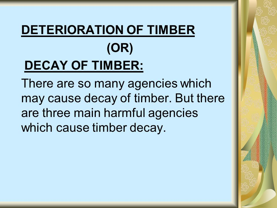 DETERIORATION OF TIMBER