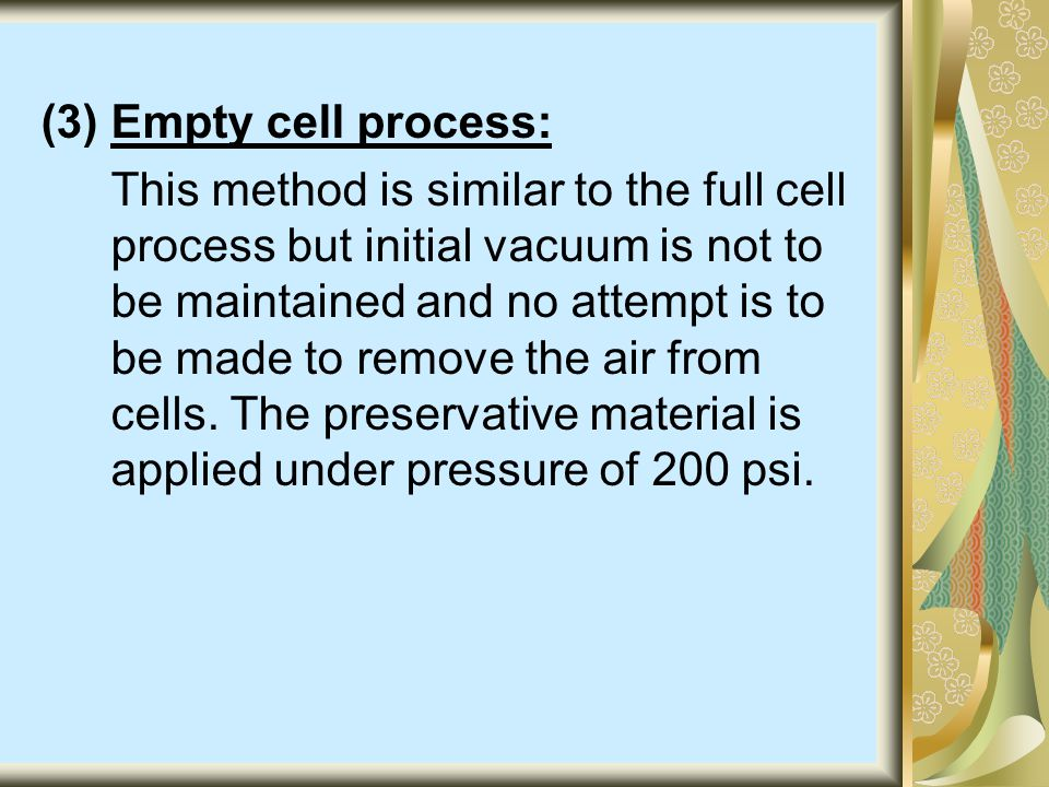 (3) Empty cell process: