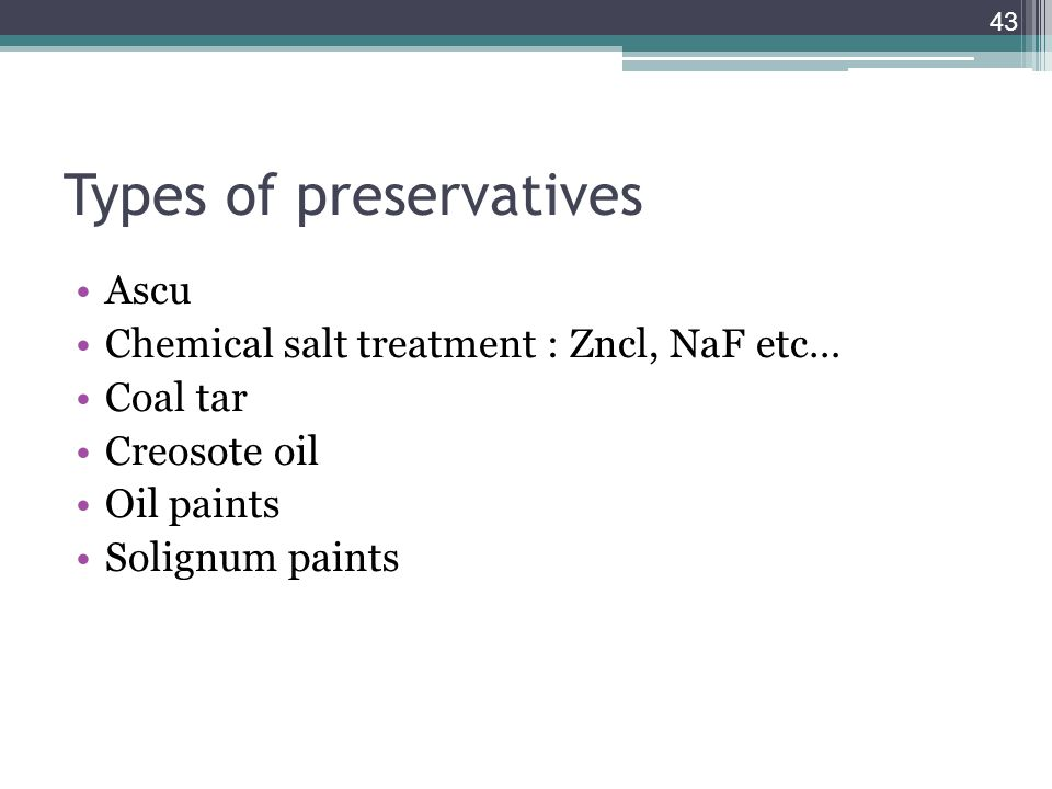 Types of preservatives