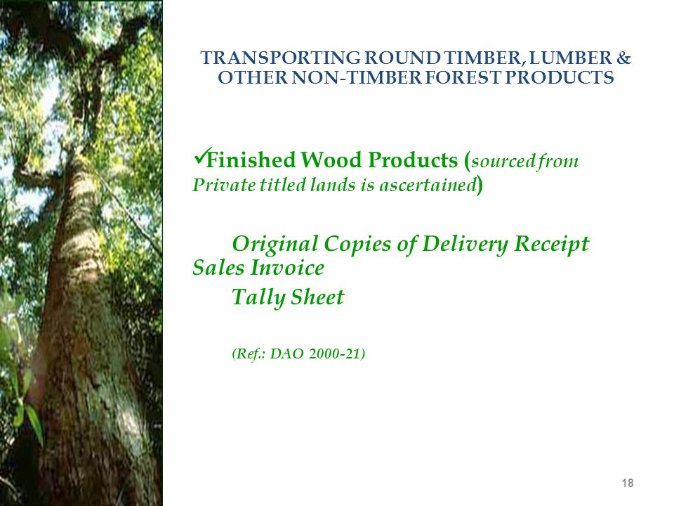 TRANSPORTING ROUND TIMBER, LUMBER & OTHER NON-TIMBER FOREST PRODUCTS