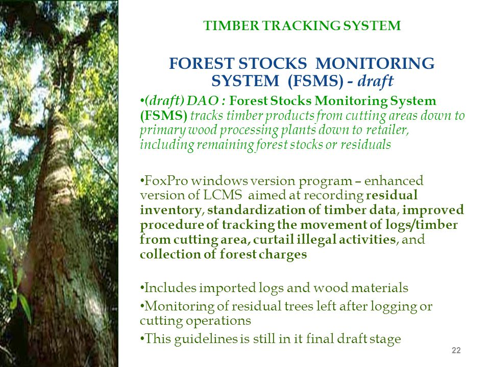 TIMBER TRACKING SYSTEM FOREST STOCKS MONITORING SYSTEM (FSMS) - draft