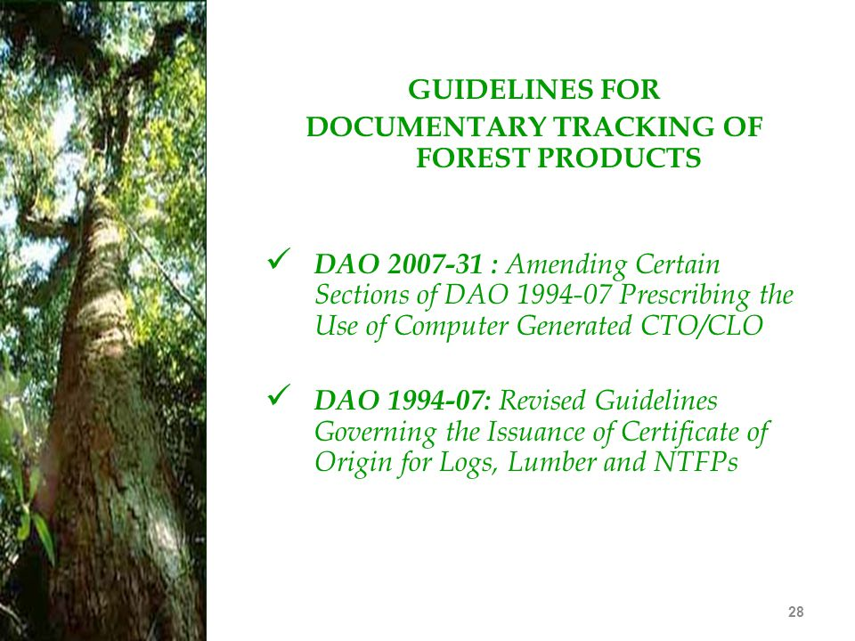 DOCUMENTARY TRACKING OF FOREST PRODUCTS