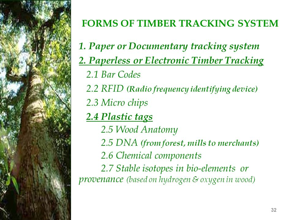 FORMS OF TIMBER TRACKING SYSTEM