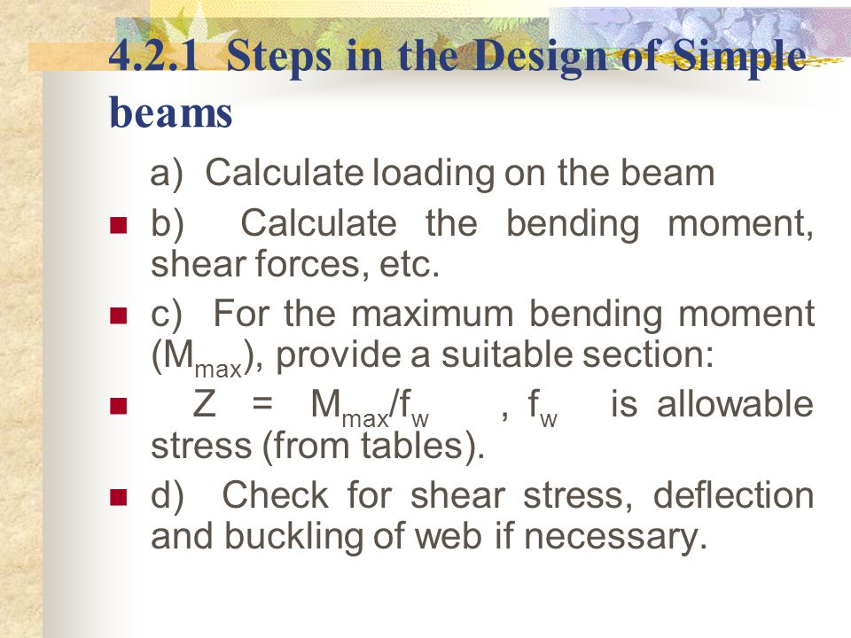 4.2.1 Steps in the Design of Simple beams