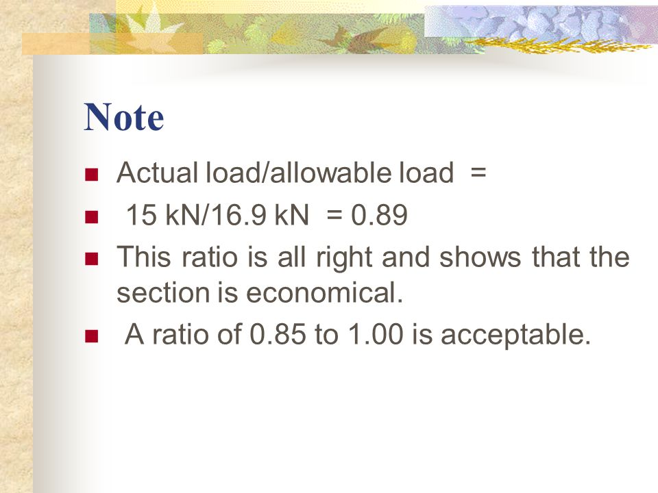 Note Actual load/allowable load = 15 kN/16.9 kN = 0.89