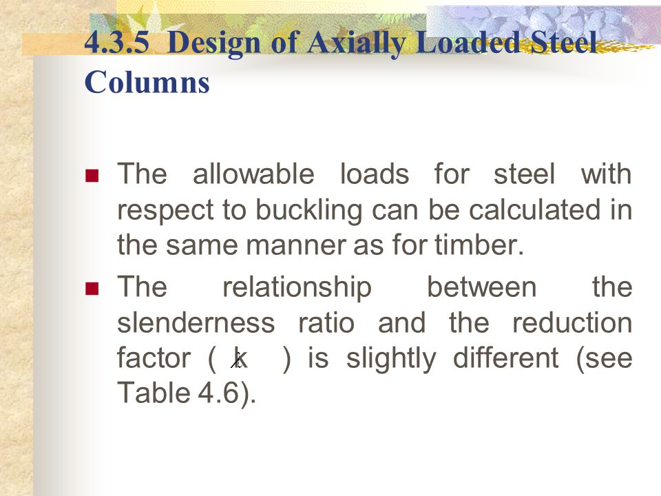 4.3.5 Design of Axially Loaded Steel Columns