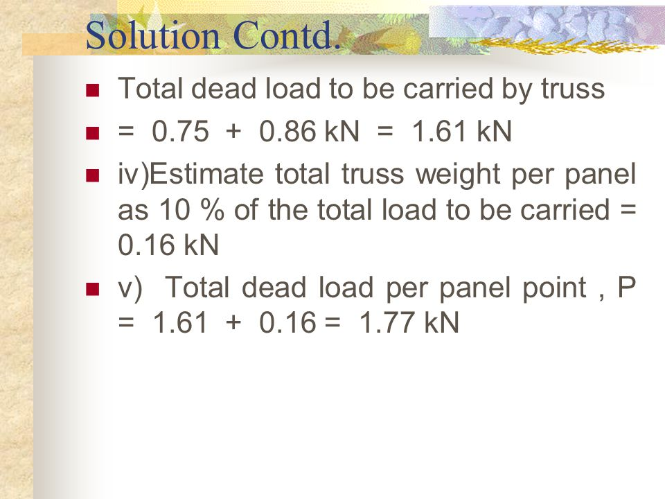 Solution Contd. Total dead load to be carried by truss