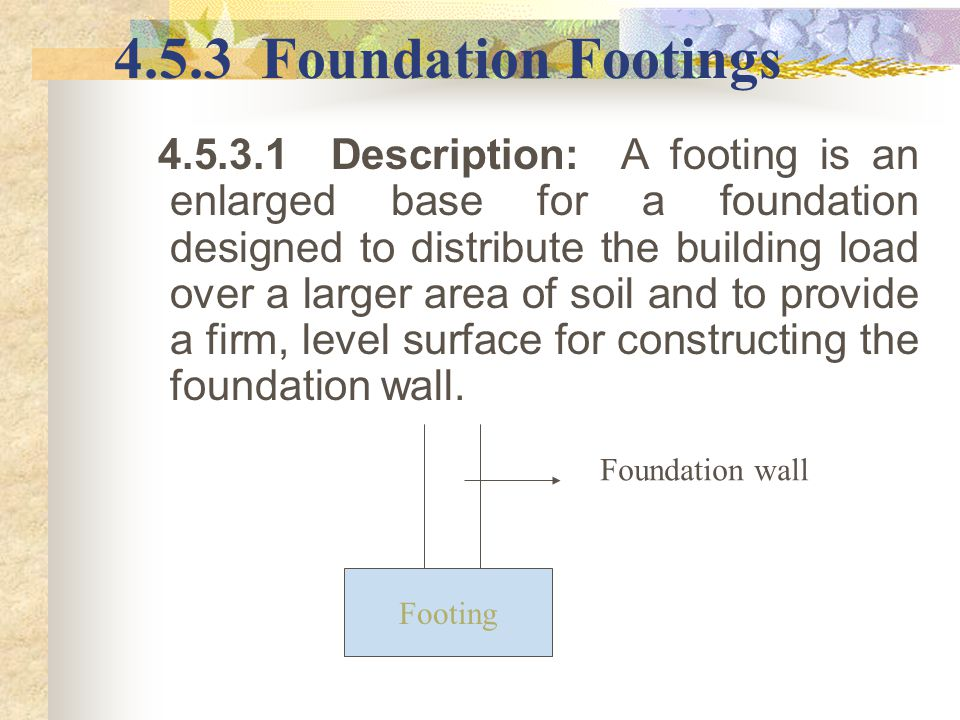 4.5.3 Foundation Footings
