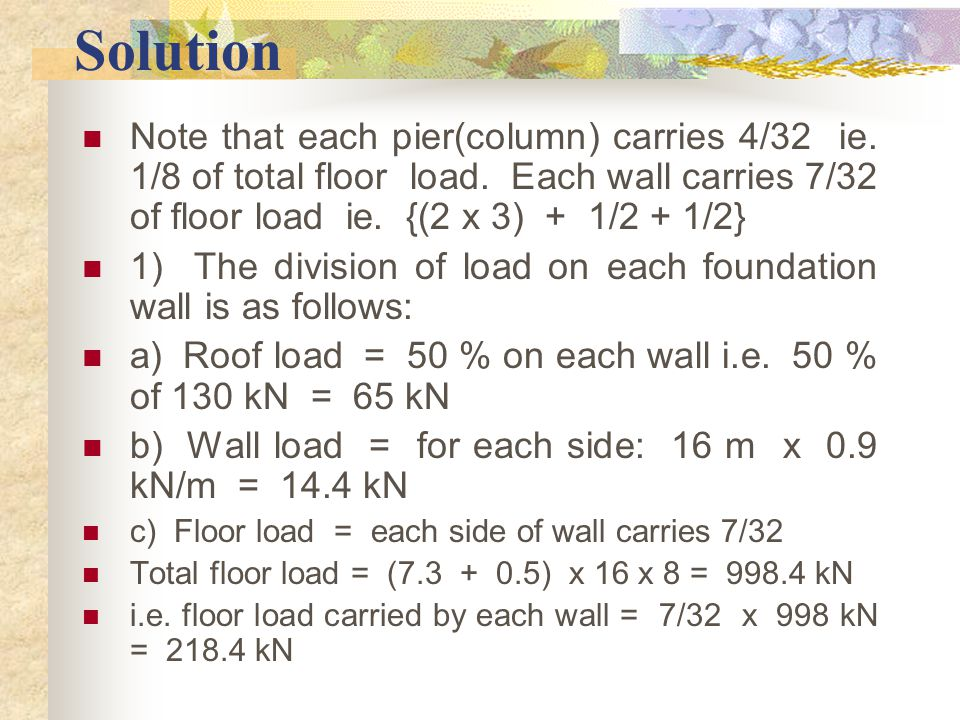 Solution Note that each pier(column) carries 4/32 ie. 1/8 of total floor load. Each wall carries 7/32 of floor load ie. {(2 x 3) + 1/2 + 1/2}