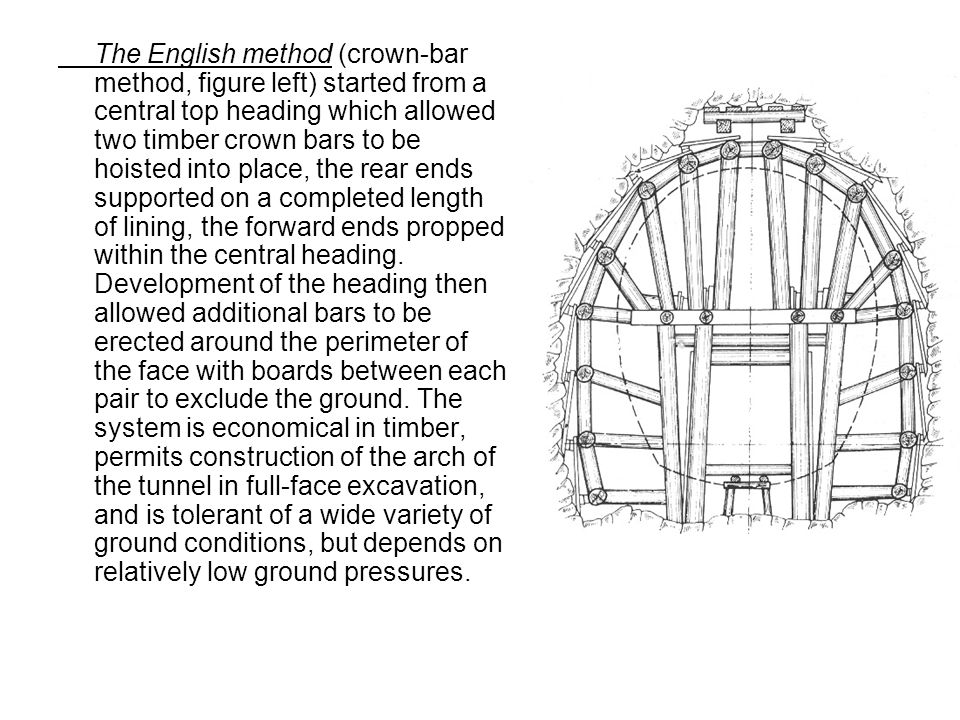 The English method (crown-bar method, figure left) started from a central top heading which allowed two timber crown bars to be hoisted into place, the rear ends supported on a completed length of lining, the forward ends propped within the central heading.