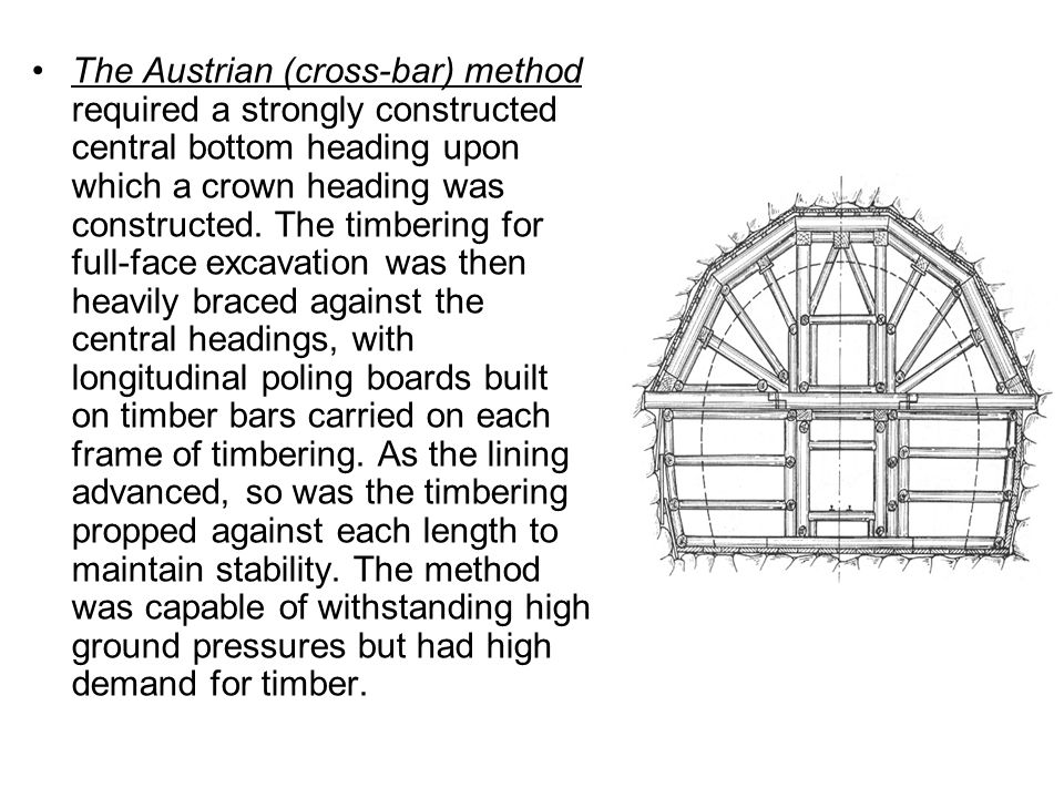 The Austrian (cross-bar) method required a strongly constructed central bottom heading upon which a crown heading was constructed.
