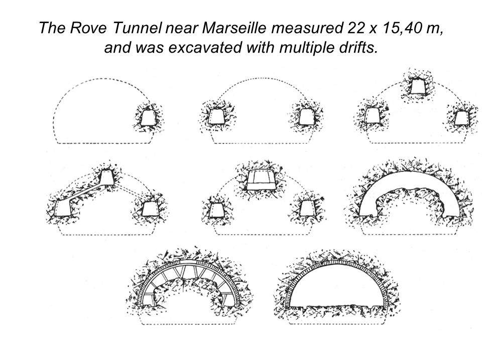 The Rove Tunnel near Marseille measured 22 x 15,40 m, and was excavated with multiple drifts.
