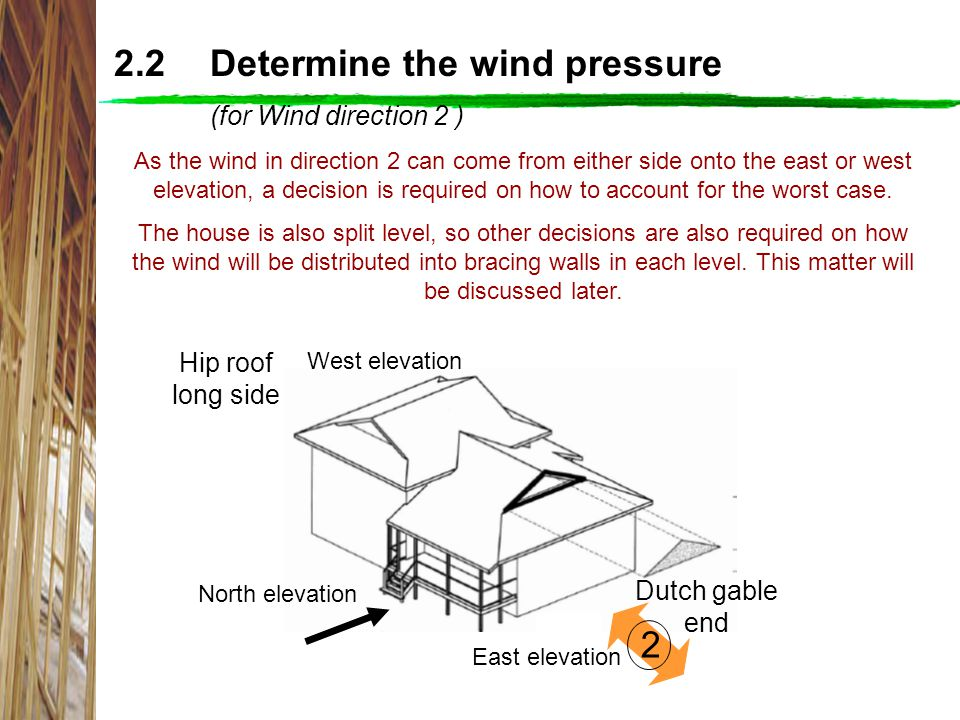 2.2 Determine the wind pressure (for Wind direction 2 )