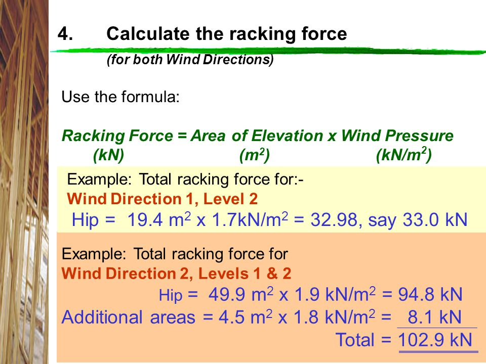 4. Calculate the racking force