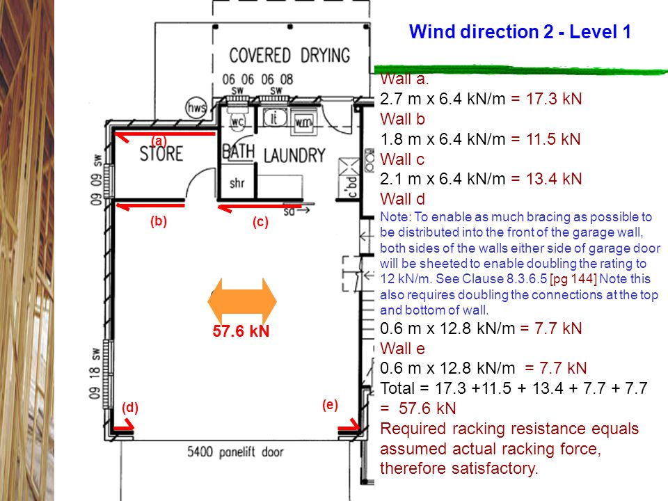 Wind direction 2 - Level 1 Wall a. 2.7 m x 6.4 kN/m = 17.3 kN Wall b