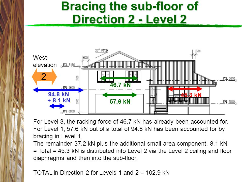 Bracing the sub-floor of Direction 2 - Level 2