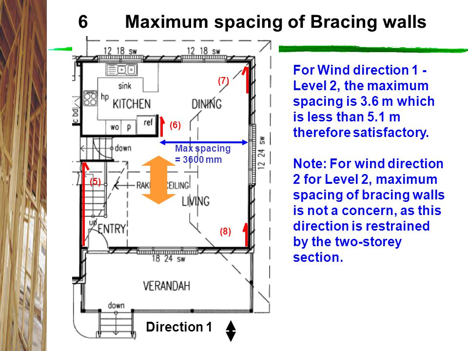 6 Maximum spacing of Bracing walls