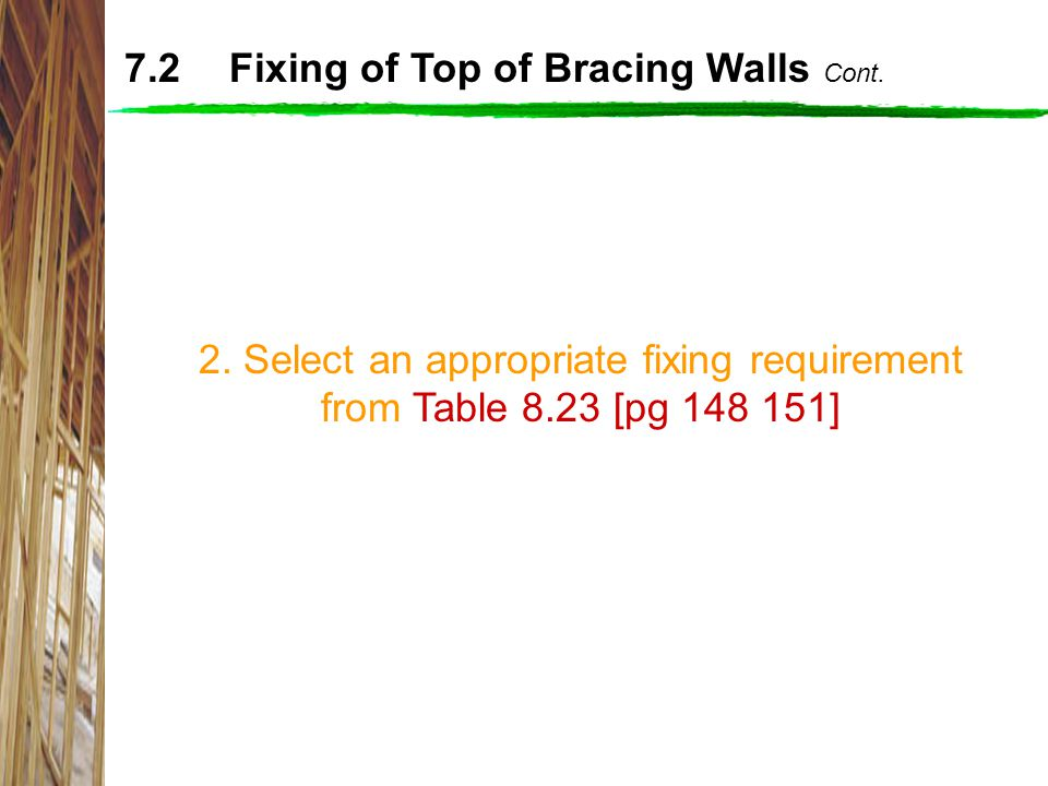 7.2 Fixing of Top of Bracing Walls Cont.