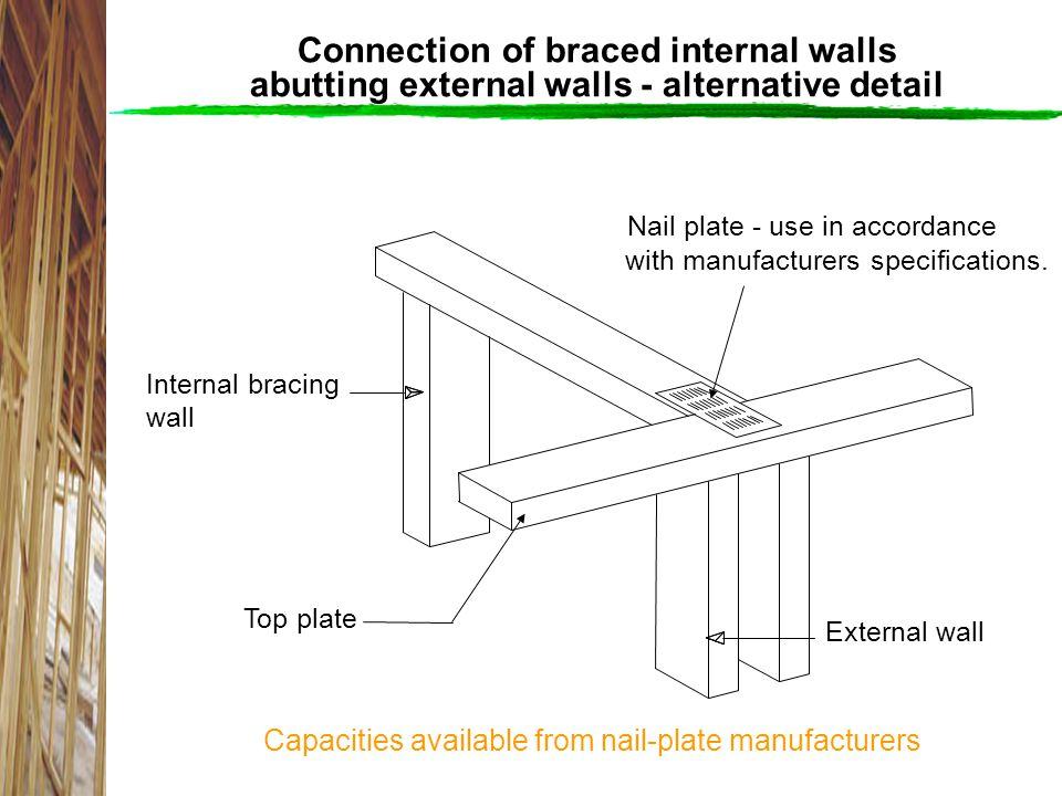 Connection of braced internal walls