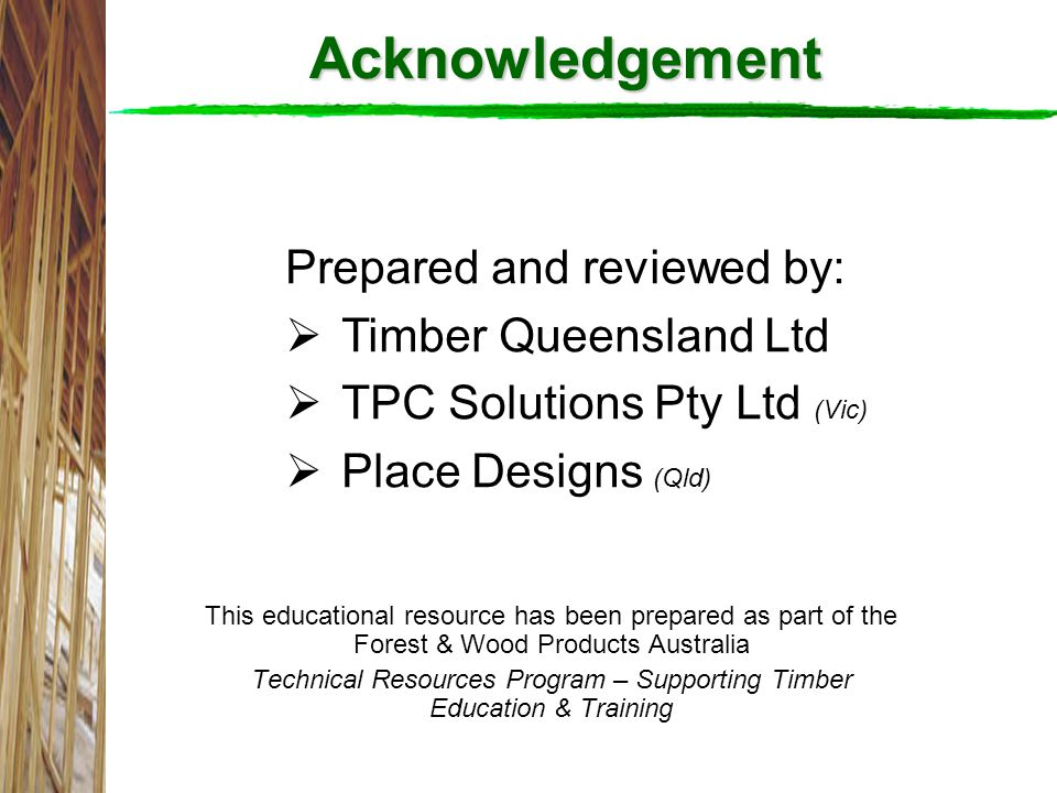 Technical Resources Program – Supporting Timber Education & Training