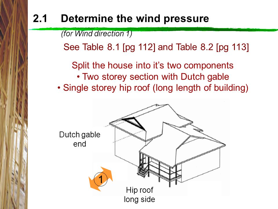 2.1 Determine the wind pressure (for Wind direction 1)