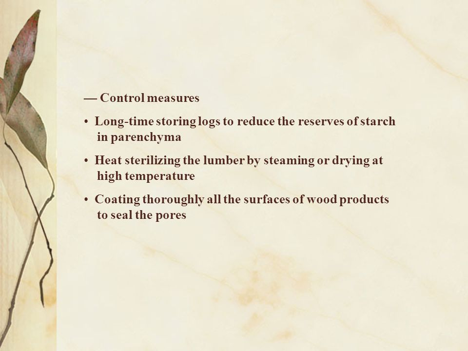 — Control measures Long-time storing logs to reduce the reserves of starch. in parenchyma. Heat sterilizing the lumber by steaming or drying at.