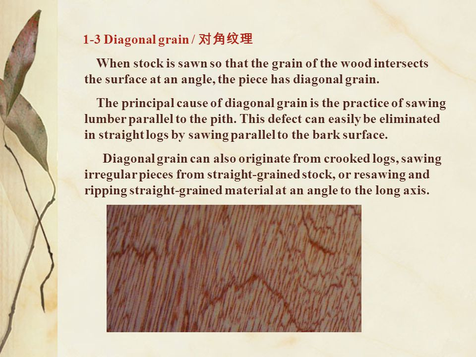 1-3 Diagonal grain / 对角纹理 When stock is sawn so that the grain of the wood intersects the surface at an angle, the piece has diagonal grain.