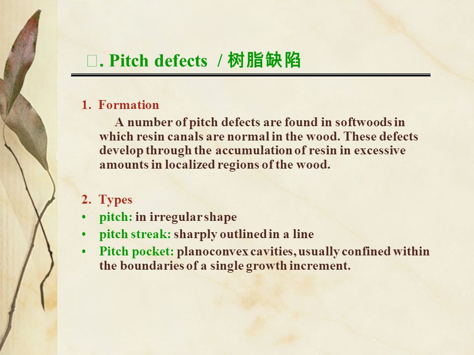 Ⅷ. Pitch defects / 树脂缺陷 1. Formation