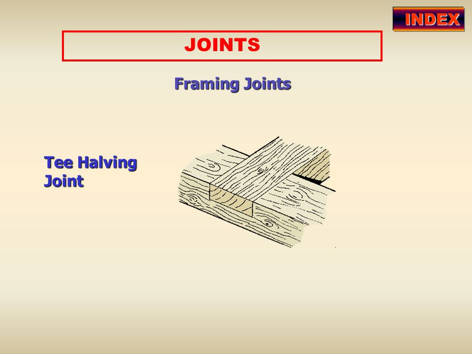INDEX JOINTS Framing Joints Tee Halving Joint