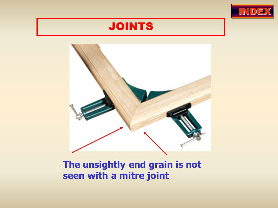 INDEX JOINTS The unsightly end grain is not seen with a mitre joint