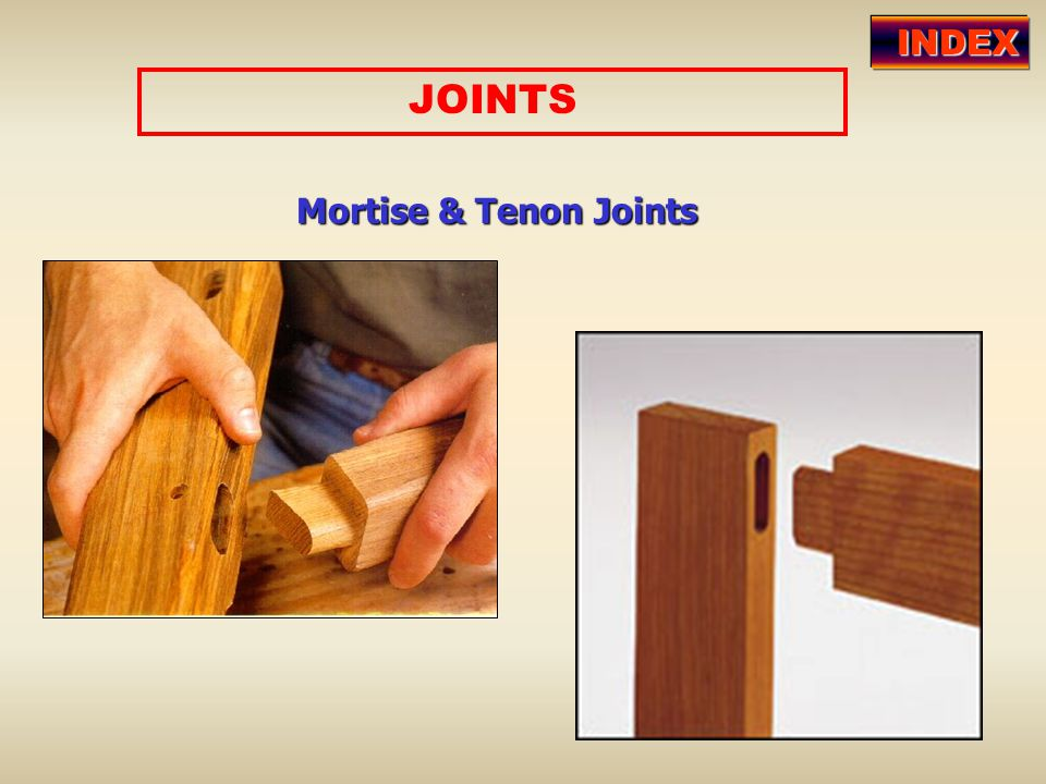 INDEX JOINTS Mortise & Tenon Joints