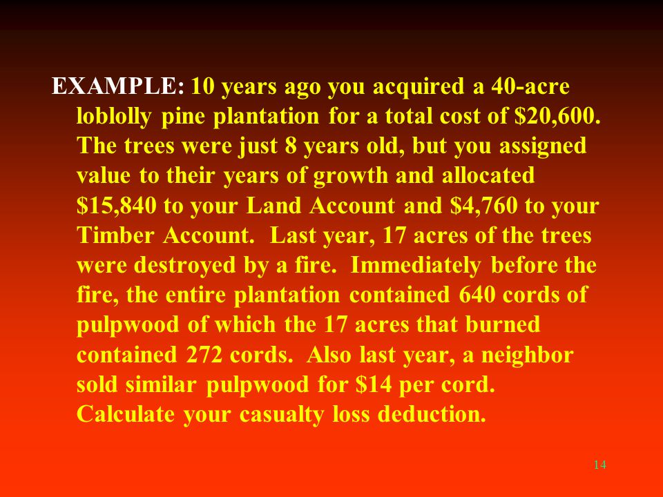 EXAMPLE: 10 years ago you acquired a 40-acre loblolly pine plantation for a total cost of $20,600.