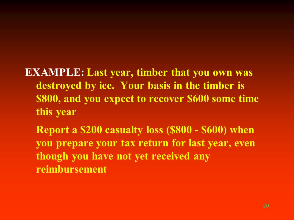 EXAMPLE: Last year, timber that you own was destroyed by ice