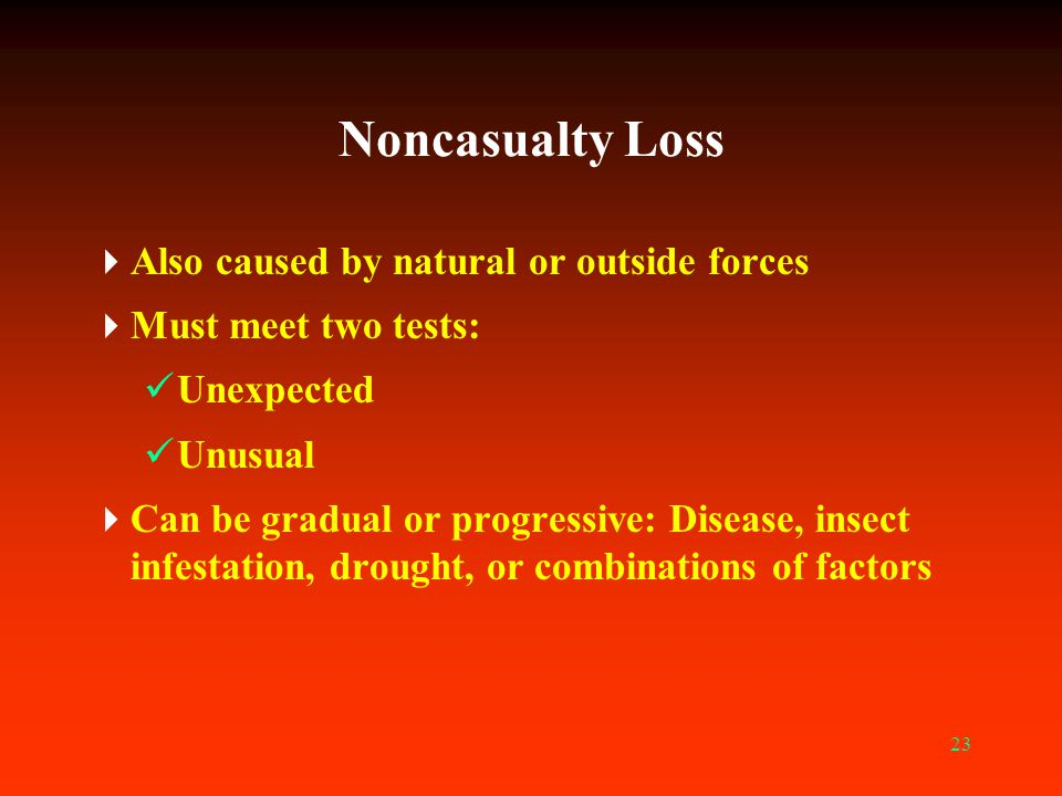 Noncasualty Loss Also caused by natural or outside forces