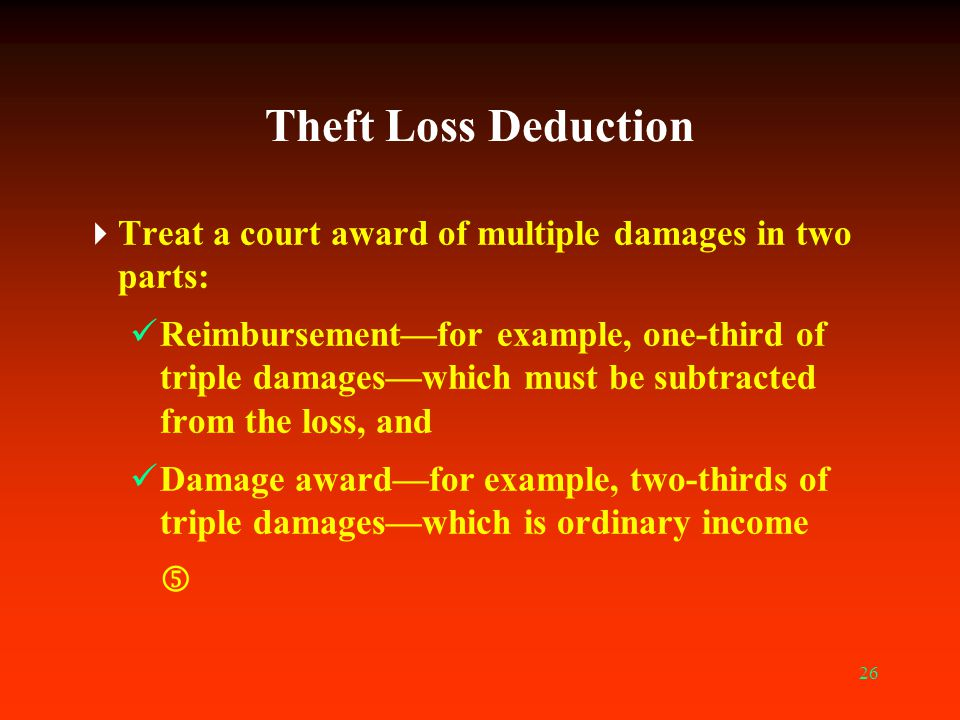 Theft Loss Deduction Treat a court award of multiple damages in two parts: