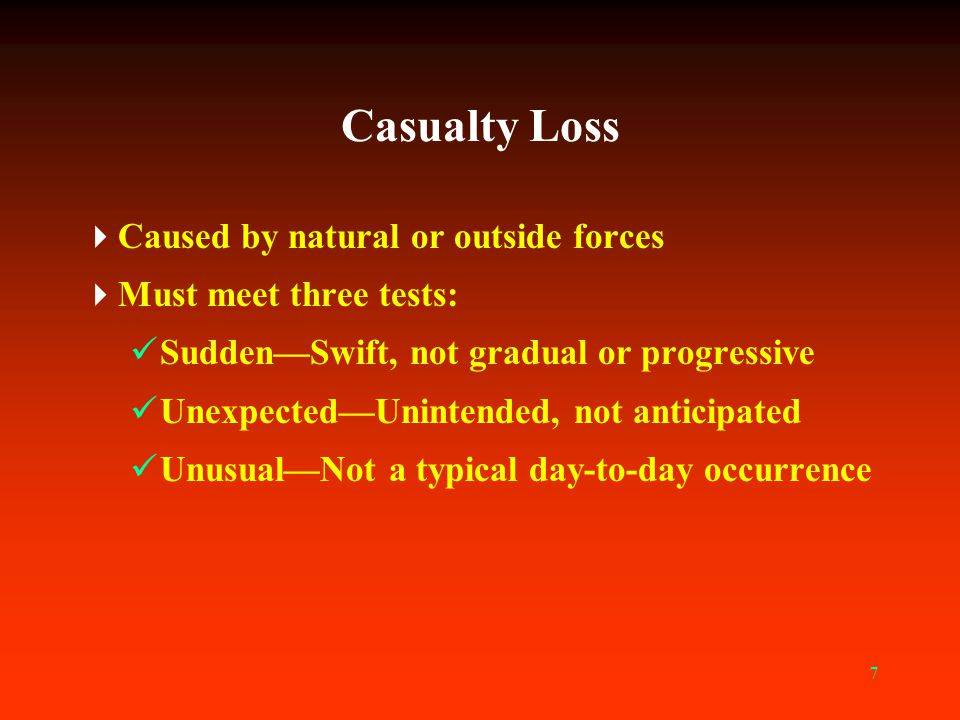 Casualty Loss Caused by natural or outside forces