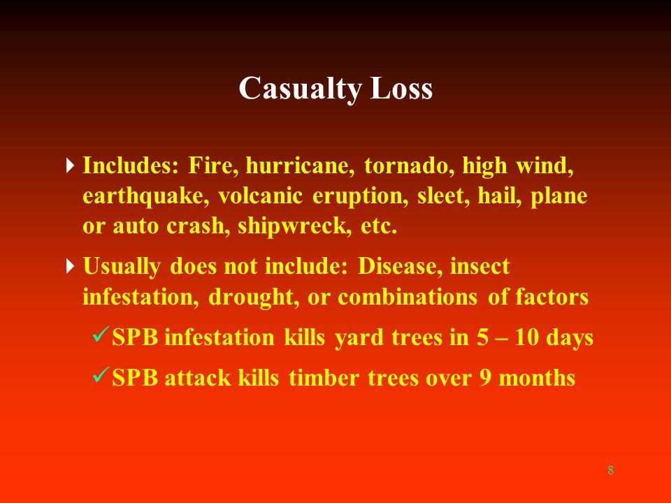 Casualty Loss Includes: Fire, hurricane, tornado, high wind, earthquake, volcanic eruption, sleet, hail, plane or auto crash, shipwreck, etc.