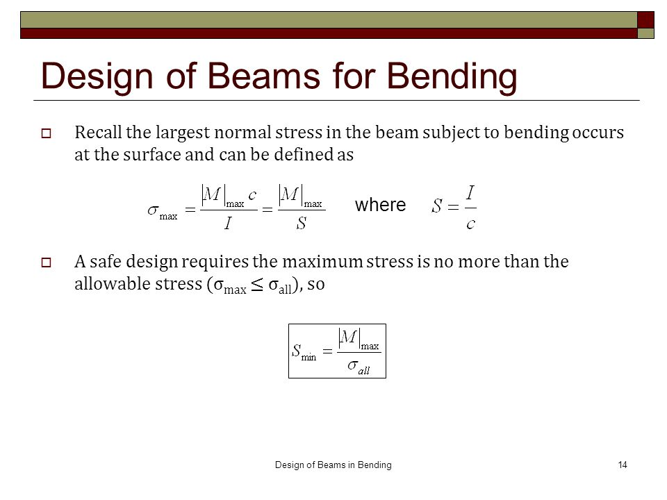 Design of Beams for Bending