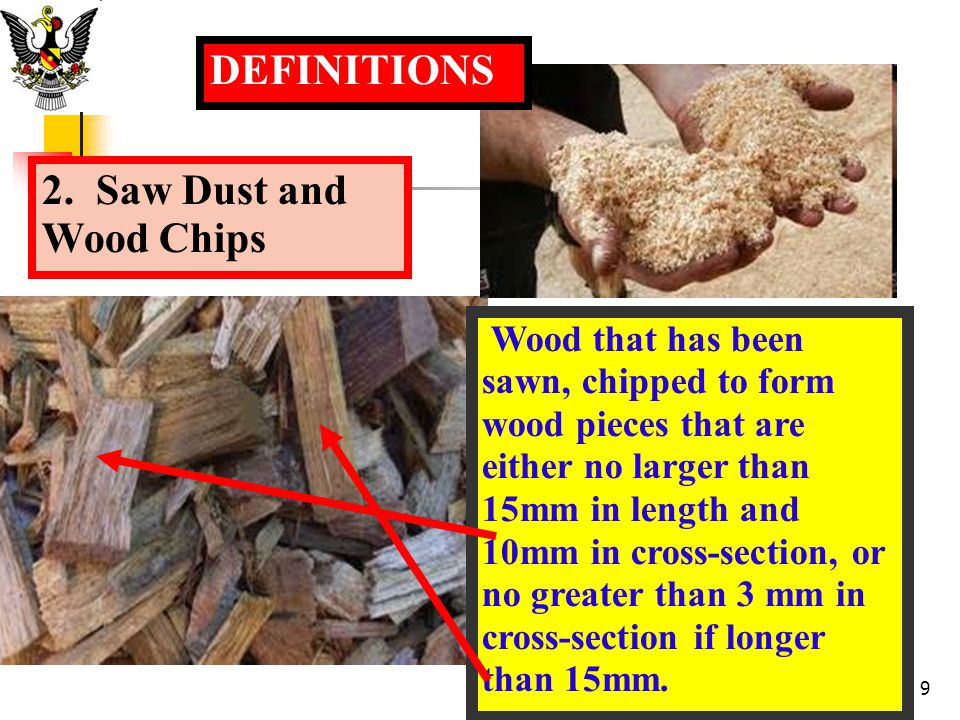 DEFINITIONS 2. Saw Dust and Wood Chips