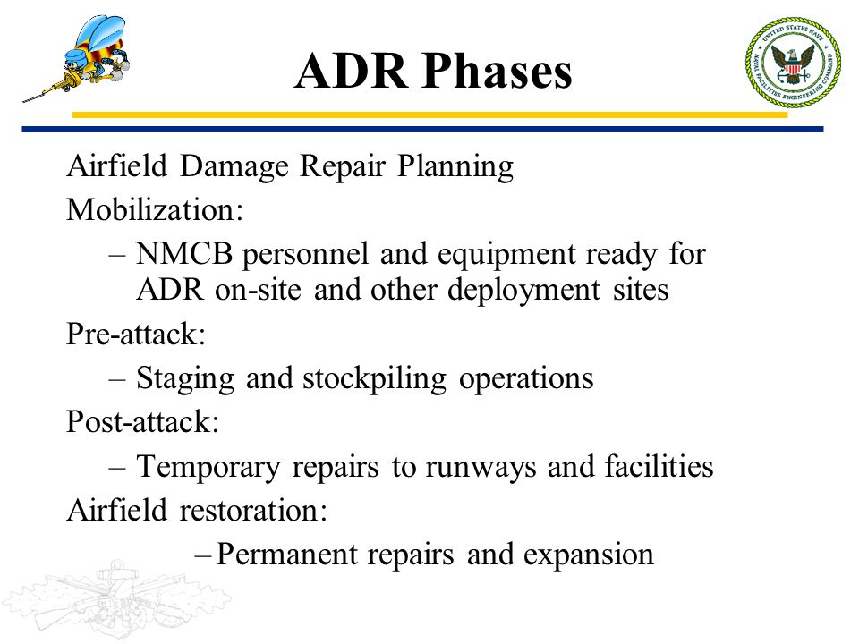 ADR Phases Airfield Damage Repair Planning Mobilization: