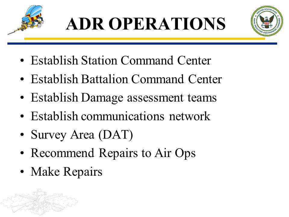 ADR OPERATIONS Establish Station Command Center