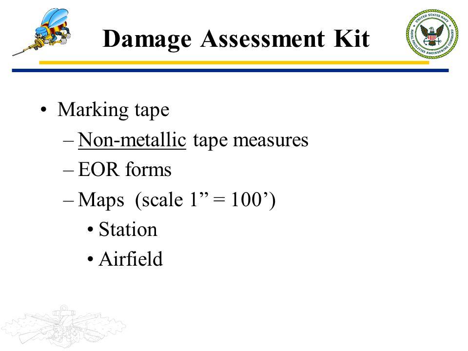 Damage Assessment Kit Marking tape Non-metallic tape measures