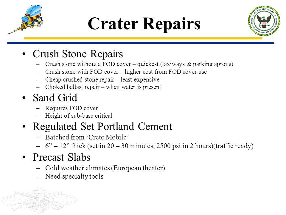 Crater Repairs Crush Stone Repairs Sand Grid