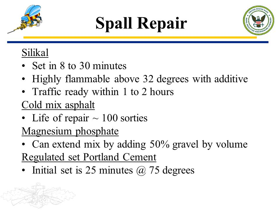 Spall Repair Silikal Set in 8 to 30 minutes