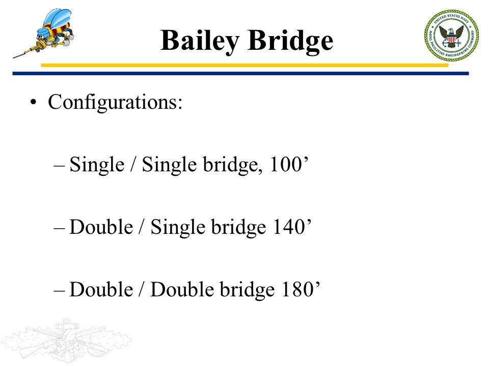 Bailey Bridge Configurations: Single / Single bridge, 100'