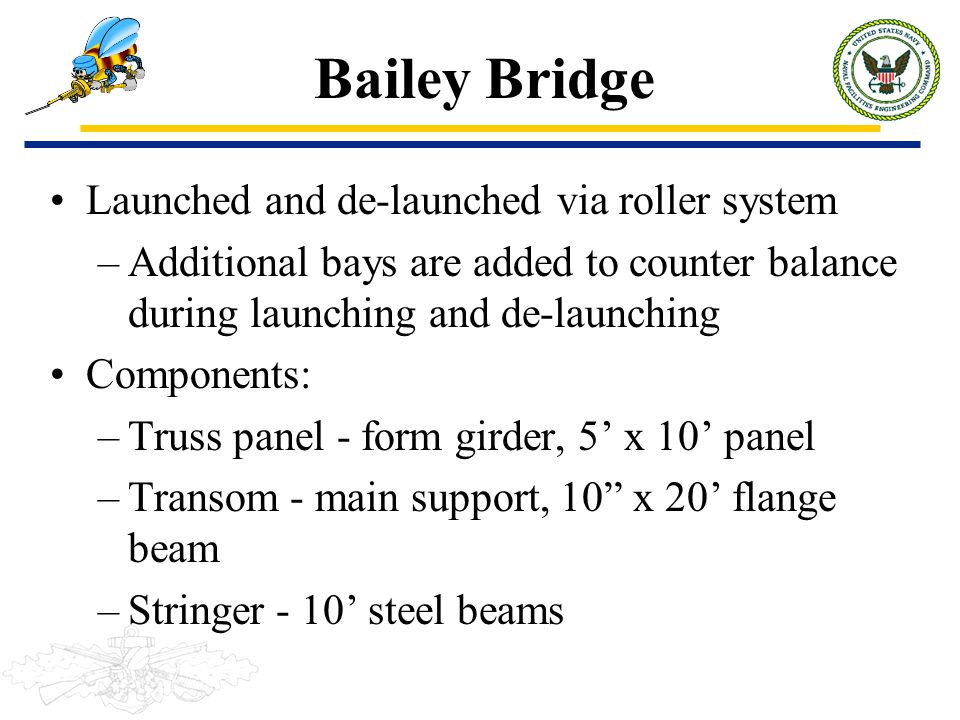 Bailey Bridge Launched and de-launched via roller system