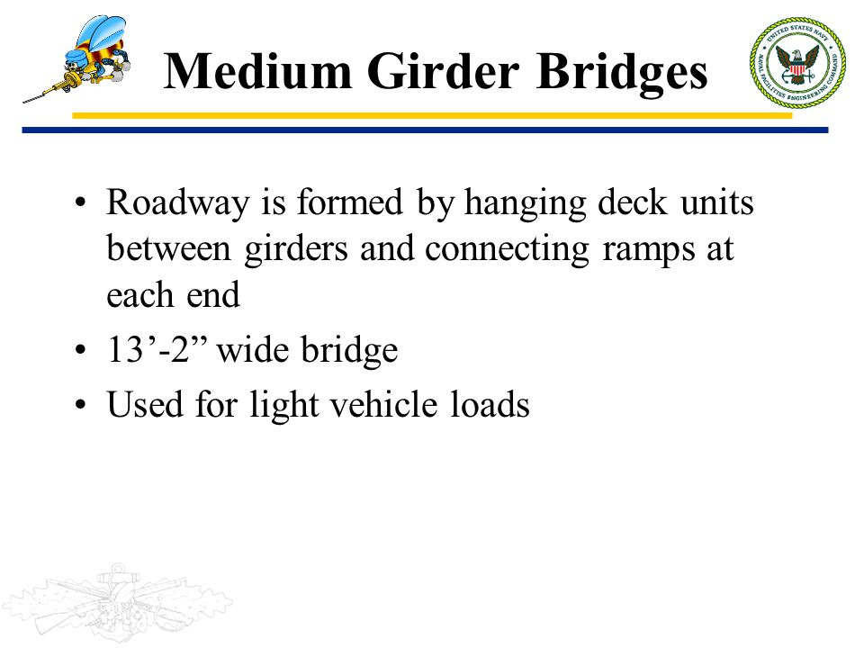 Medium Girder Bridges Roadway is formed by hanging deck units between girders and connecting ramps at each end.