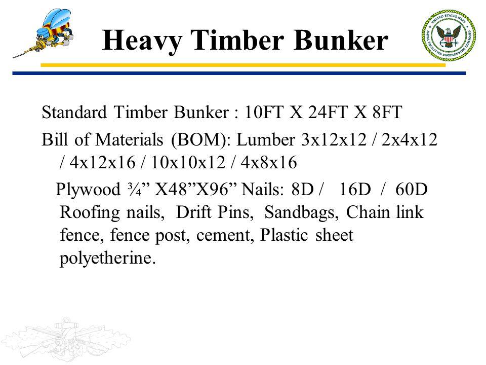 Heavy Timber Bunker Standard Timber Bunker : 10FT X 24FT X 8FT