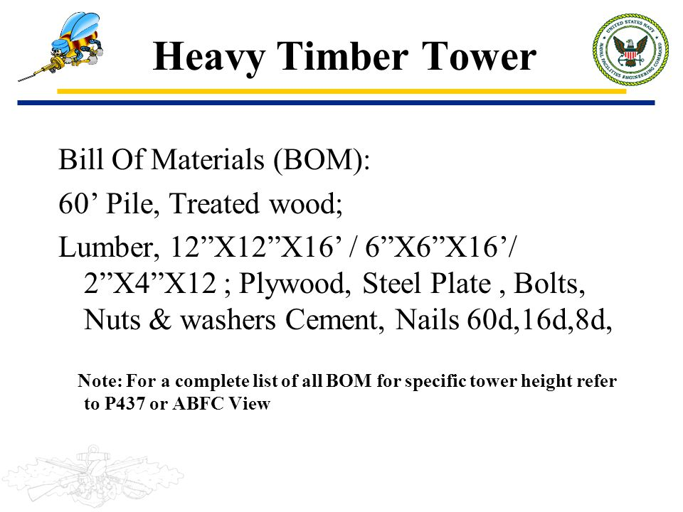 Heavy Timber Tower Bill Of Materials (BOM): 60' Pile, Treated wood;